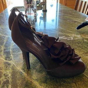 Women's Brown Satin Dress Shoes